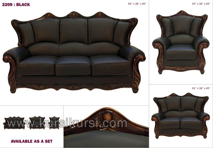 Black Sofa Set Kursi Tamu Kayu Jati Jepara