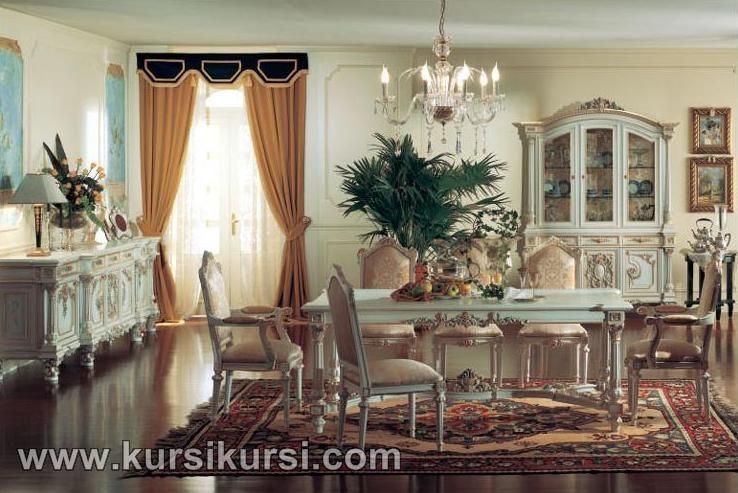 Italian Furniture Set Kursi Meja Makan Duco Putih