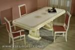 Set Kursi Makan Duco Putih Jok Merah Jepara Kode ( KKS 257 )