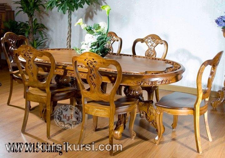 Set Kursi Makan Klasik Kayu Jati Jepara