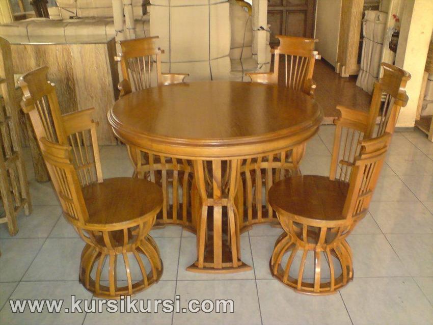 Set Kursi Makan Mangkuk Kayu Jati Jepara
