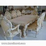 Set Kursi Makan Ukiran Solid Kayu Duco Putih Kombinasi Kode ( KKS 368 )