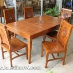 Set Kursi Meja Makan Lengkung Ukir