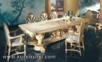 Set Kursi Meja Makan Mewah Duco Putih Kode ( KKS 397 )
