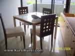 Set Kursi Meja Makan Minimalis Sandaran Lubang Bundar Bundar Kode ( KKS 445 )