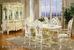 Victorian Dining Set Duco Putih Kayu Jepara Kode ( KKS 474 )