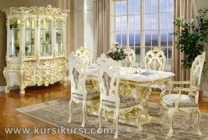 Victorian Dining Set Duco Putih Kayu Jepara