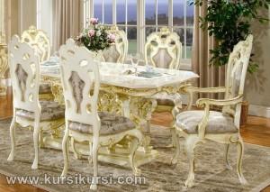 Victorian Italia Furniture Kursi Makan Set Duco Putih