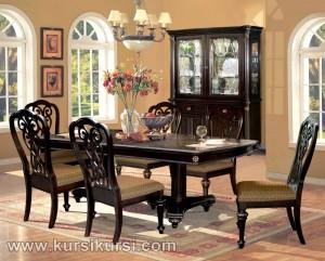 Warn Brown Furniture Kursi Set Meja Makan Ukir Jepara