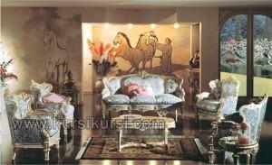 Jepara Furniture Sofa Set Kursi Meja Tamu Blue Version