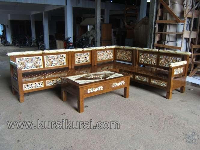 Kursi Tamu Sudut Ukir Finishing Marmer