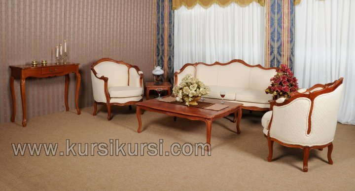 Mahogani Jepara Set Kursi Tamu Sofa Model Modern