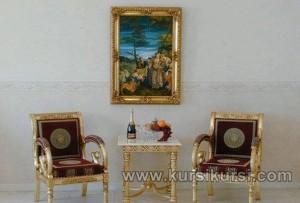 Modern Furniture Ukir Set Kursi Teras Emas
