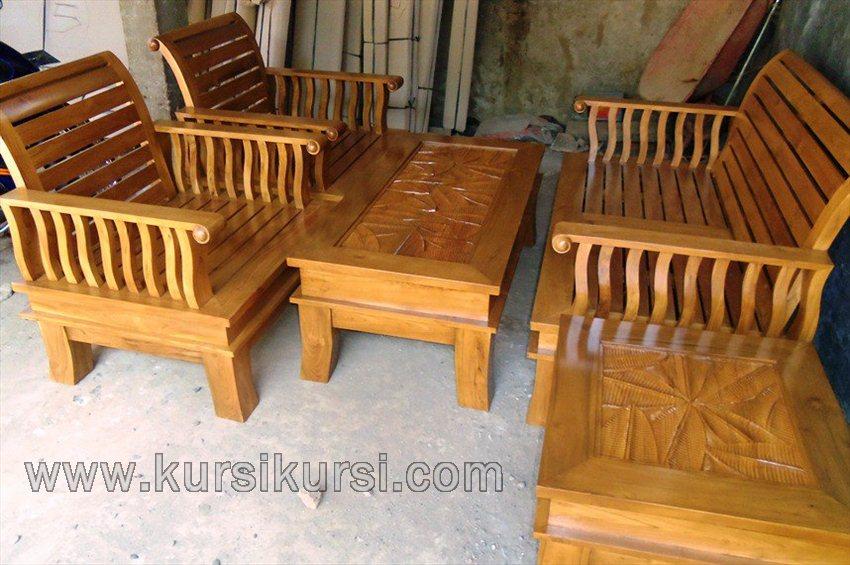 Set Kursi Tamu Minimalis Natural Furniture Kayu Jati