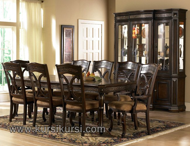 Dark Brown Furniture Set Kursi Makan Minimalis Klasik