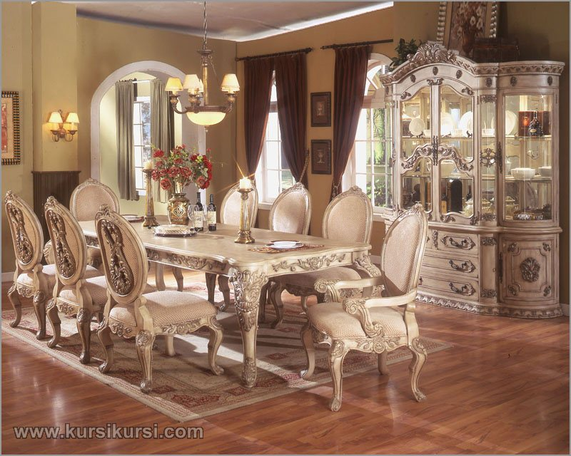 Formal Dining Set White Klasik Jepara