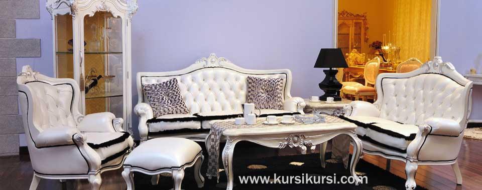 Furniture Mewah Kursi Tamu Duco Putih Tulang
