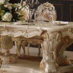 Kursi Makan Duco Putih Ukiran Klasik