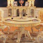 Kursi Makan Ukiran Mewah dengan Meja Bundar