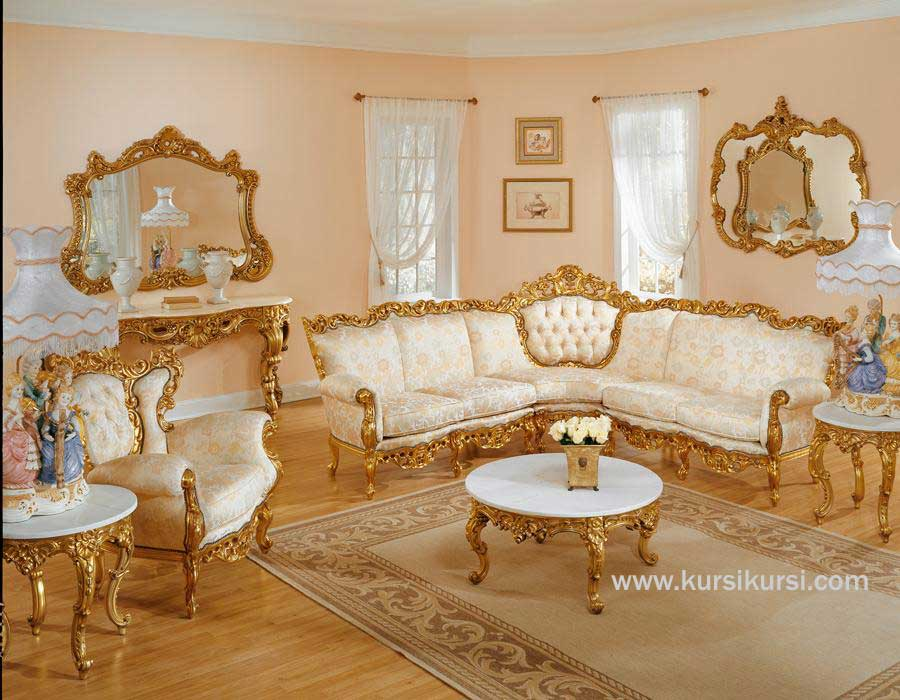 Lisanna Furniture Kursi Tamu Sofa Gold Leafe