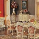 Set Ruang Makan Ukiran Kayu Duco Putih