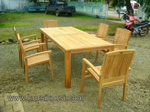 Stacking Set Kursi Jati Garden Furniture