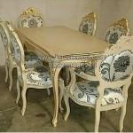 Set Kursi Makan Ukiran Klassik Duco Putih KKG 096